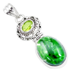 15.16cts natural green chrome diopside peridot 925 silver pendant jewelry p16241