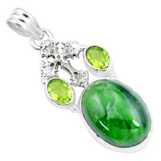 16.79cts natural green chrome diopside 925 silver holy cross pendant p16243