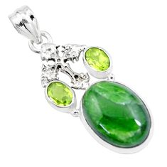 16.92cts natural green chrome diopside peridot 925 silver cross pendant p16248