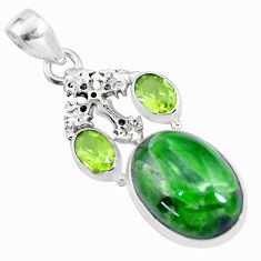 16.92cts natural green chrome diopside peridot 925 silver cross pendant p16250
