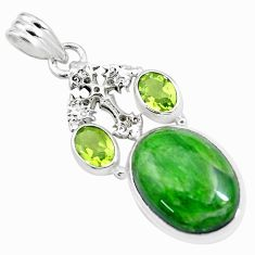 15.97cts natural green chrome diopside peridot 925 silver cross pendant p16252