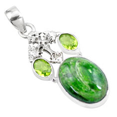 16.46cts natural green chrome diopside peridot 925 silver cross pendant p16253