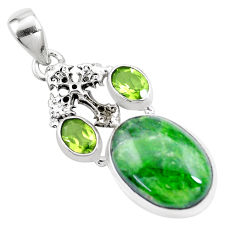 15.47cts natural green chrome diopside peridot 925 silver cross pendant p16254