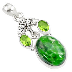 16.46cts natural green chrome diopside peridot 925 silver cross pendant p16256