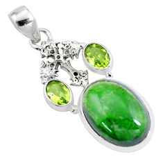 16.46cts natural green chrome diopside peridot 925 silver cross pendant p16257