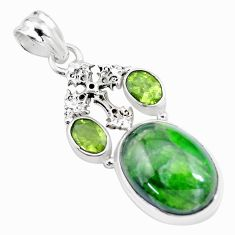 16.92cts natural green chrome diopside peridot 925 silver cross pendant p16258