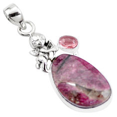 13.77cts natural pink tourmaline 925 silver cupid angel wings pendant p16270