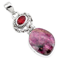 15.16cts natural pink tourmaline garnet 925 sterling silver pendant p16273