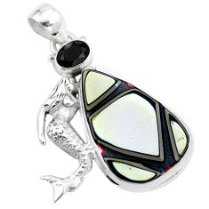 13.56cts brown fordite detroit agate 925 silver fairy mermaid pendant p16285