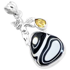 12.60cts brown fordite detroit agate 925 silver angel wings fairy pendant p16289