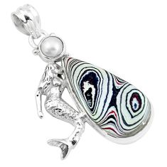 15.39cts brown fordite detroit agate pearl 925 sterling silver pendant p16290