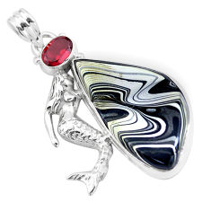 16.06cts brown fordite detroit agate 925 silver fairy mermaid pendant p16295
