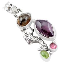10.37cts natural multicolor tourmaline 925 sterling silver fish pendant p16321
