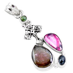 11.36cts natural multicolor tourmaline 925 silver holy cross pendant p16322