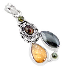 12.34cts natural multi color tourmaline 925 sterling silver pendant p16325