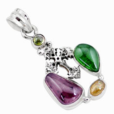 10.02cts natural multi color tourmaline 925 silver holy cross pendant p16328