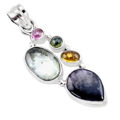 10.64cts natural multi color tourmaline 925 sterling silver pendant p16330