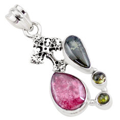 10.25cts natural multi color tourmaline 925 silver holy cross pendant p16334