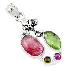 11.71cts natural multi color tourmaline 925 silver holy cross pendant p16335