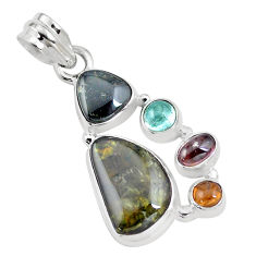 10.64cts natural multi color tourmaline 925 sterling silver pendant p16353