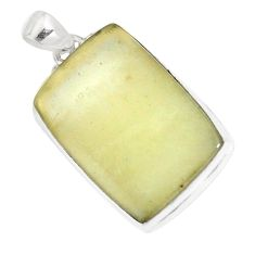 24.00cts natural libyan desert glass (gold tektite) 925 silver pendant p16373