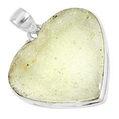 22.87cts natural libyan desert glass 925 sterling silver heart pendant p16376