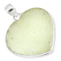 27.70cts natural libyan desert glass 925 silver heart pendant jewelry p16377