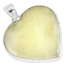 24.38cts natural libyan desert glass 925 silver heart pendant jewelry p16378