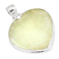 20.51cts natural bronze libyan desert glass heart 925 silver pendant p16379