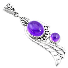 925 sterling silver 6.31cts natural purple amethyst oval pendant jewelry p16564