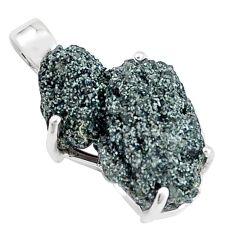 925 silver 12.22cts natural green seraphinite in quartz fancy pendant p16623