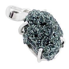 12.55cts natural green seraphinite in quartz 925 sterling silver pendant p16624