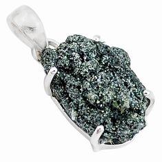 13.15cts natural green seraphinite in quartz 925 sterling silver pendant p16625
