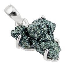11.20cts natural green seraphinite in quartz 925 sterling silver pendant p16627