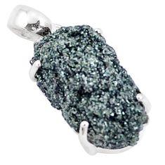 12.58cts natural green seraphinite in quartz 925 sterling silver pendant p16633