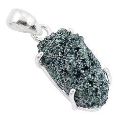 925 sterling silver 12.22cts natural green seraphinite in quartz pendant p16635