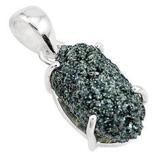 925 sterling silver 10.08cts natural green seraphinite in quartz pendant p16638