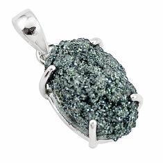 925 sterling silver 12.58cts natural green seraphinite in quartz pendant p16640