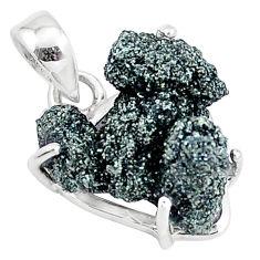 11.20cts natural green seraphinite in quartz 925 sterling silver pendant p16641