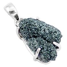 925 sterling silver 12.55cts natural green seraphinite in quartz pendant p16643
