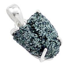 11.73cts natural green seraphinite in quartz 925 sterling silver pendant p16644
