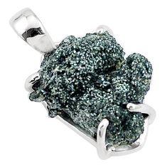 925 sterling silver 10.05cts natural green seraphinite in quartz pendant p16650