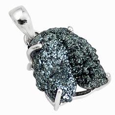 15.08cts natural green seraphinite in quartz 925 sterling silver pendant p16651
