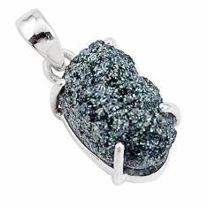 925 silver 11.73cts natural green seraphinite in quartz fancy pendant p16656