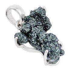 11.73cts natural green seraphinite in quartz 925 sterling silver pendant p16657