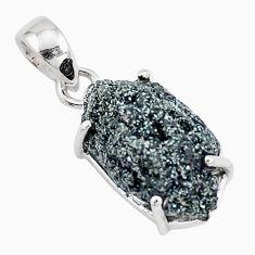 925 sterling silver 10.65cts natural green seraphinite in quartz pendant p16659