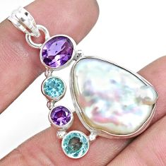 25.60cts natural white biwa pearl amethyst topaz 925 silver pendant p16982