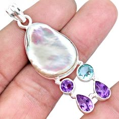 925 silver 25.60cts natural white biwa pearl amethyst topaz pendant p16984