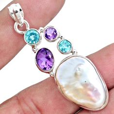 925 silver 25.60cts natural white biwa pearl amethyst topaz pendant p16998