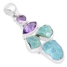 14.26cts natural aqua aquamarine rough amethyst 925 silver pendant p17062